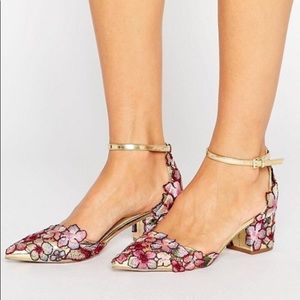 Adorable Embroidered Floral Block Heel